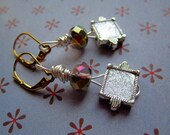 Painted metal earrings with crystal drops and crystal in glitter silver