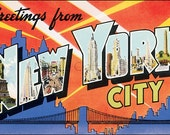 Retro New York Fabric Applique, Cotton Fabric Quilt Block, Crazy Quilt Panel, Art Quilting, Sewing, Craft Projects