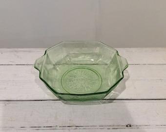 Vintage Vaseline Glass Octagon Bowl.