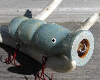Blue Squid Wood Top Water Fishing Lure