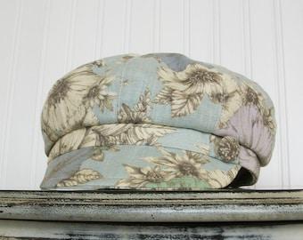 Linen Newsboy Hat, Womens Hat, Womens Linen Cap, Womens Fabric Hat, Blue Linen Newsboy Cap, Floral Print Hat - M