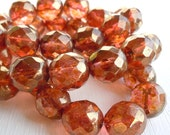 6 Firepolished Faceted 12mm African Sunset - Czech Glass Beads (G - 432)