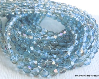 4mm Czech Beads - Light Sapphire Celsian Faceted Round - 50 pcs (G - 37)