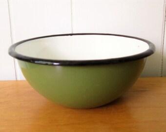 vintage green enamel bowl Poland #16