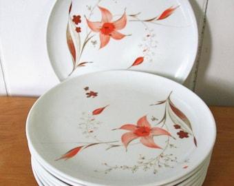 8 vintage melmac orange flower snack plates