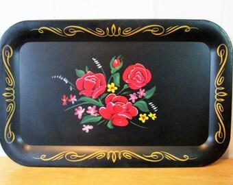 vintage rose floral tray