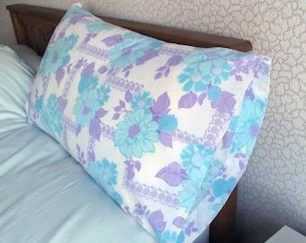 Vintage Single Pillowcase - Blue and Purple Floral Pattern