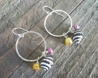 Sterling Silver Hoop Earrings, Sea Shell and Pearl Earrings, Hawaiian Earrings