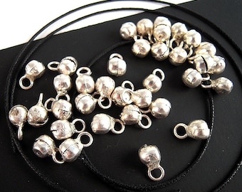 100 Tiny India Silver Bells, 4mm, 5mm, Bright Silver Finish, Clam Shell Tribal Belly Dance Bell, Gypsy Bell, Bohemian Bell L02