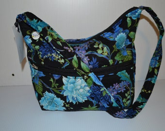 Quilted Fabric Handbag Hobo Slouch Purse Black with Beautiful Blue Flowers