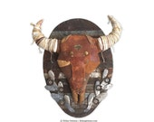 Black Forest Bison Faux Taxidermy Wall Art