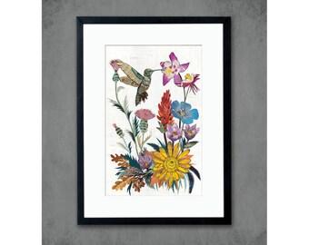 Hummingbird with Wildflowers Art Print