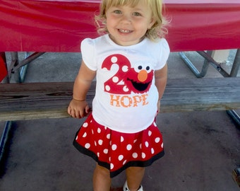 Boutique... ELMO... Birthday outfit... Sesame street inspired..red polka dots...Your child's NUMBER and NAME