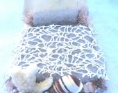 OOAK mermaid or merman miniatures bed by Forest Whimsy gray bedding, coral and sea shells