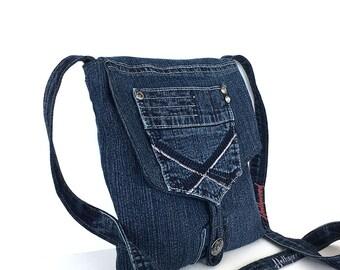 Small messenger bag , recycled dark blue denim purse ,  jean side bag , upcycled crossbody bag , sling purse , eco friendly travel handbag