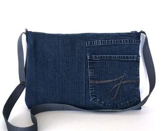 Recycled crossbody bag ,Dark blue jean side bag, vegan denim cross over purse, Denim purse,Up cycled purce, Jean messenger bag,Shop Canada