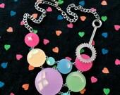 Pastel Rainbow Super Bubble & Want Acrylic Laser Cut Necklace