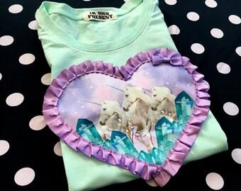 Mint and Lilac Unicorns Digital Print Applique T Shirt S/M