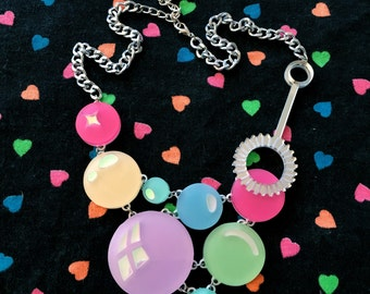 Pastel Rainbow Super Bubble & Want Acrylic Laser Cut Necklace