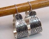 Boho Style Etched Hoop Earrings Sterling Silver