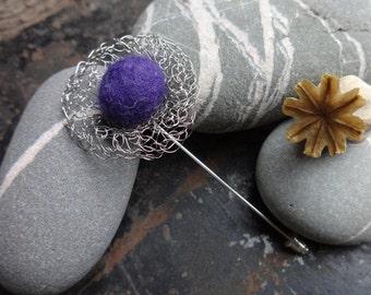 Spiders Web Crochet Wire &  Felt Brooch Pin in Purple