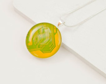 Circuit Board Necklace Bright Yellow - Recycled Computer Jewelry - Geeky Necklace - Scientist Jewelry