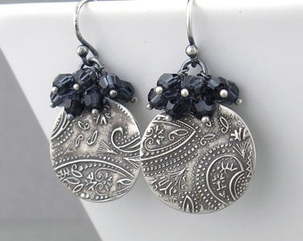 Gray Crystal Cluster Earrings Graphite Earrings Gray Dangle Earrings Silver Earrings Modern Earrings Handmade Crystal Jewelry - Lily