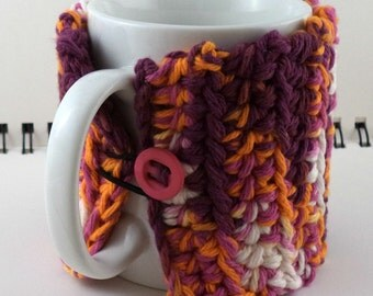 Crocheted Coffee or Ice Cream Cozy in Rainbow Sherbet Cotton with Hot Pink Button (SWG-I03)