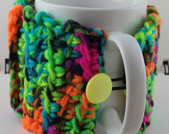 Crocheted Coffee or Ice Cream Cozy with Pocket in Neon Colors with Yellow Button (SWG-E03)