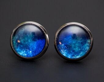 Nebula no. 06 Stud Post Earrings, Space Jewelry, Space Necklace, Wearable Art, Nebula Jewelry, Galaxy Jewelry, Cosmic Jewelry