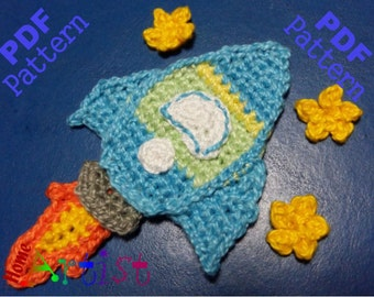 Rocket crochet Applique Pattern