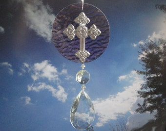 """Stained Glass, Sun Catcher, Metal Cross, Ornament, Vintage Crystals, Home Decor, Christian, Spiritual, Holy, Vintage Crystals, """"Have Faith"""""""