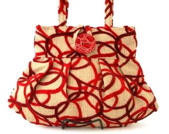 small handbag- Red purse- womens handbag  -shoulder bag - retro purse- fabric bag- retro bag- small tote bag- pleated bag, ready to ship