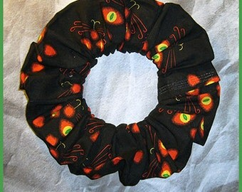 Halloween Hair Scrunchie, Holiday Fabric Hair Tie, Ponytail Holder , Black Cat's