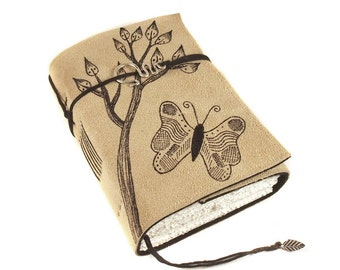 Leather Journal, Diary, Notebook, Butterfly