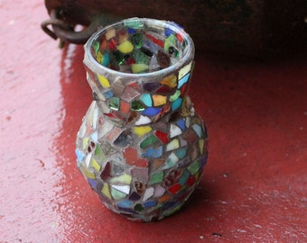 Small Stained Glass Mosaic Flower Vase or Candleholder Free Shipping