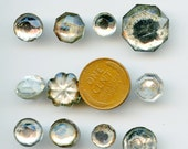 Vintage Mirror Back Buttons (14) Glass SUPER LOT Different Designs Various sizes 2849