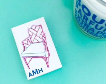 PERSONALIZED MONOGRAM MATCHBOXES with Pink Chinoiserie Chair Design