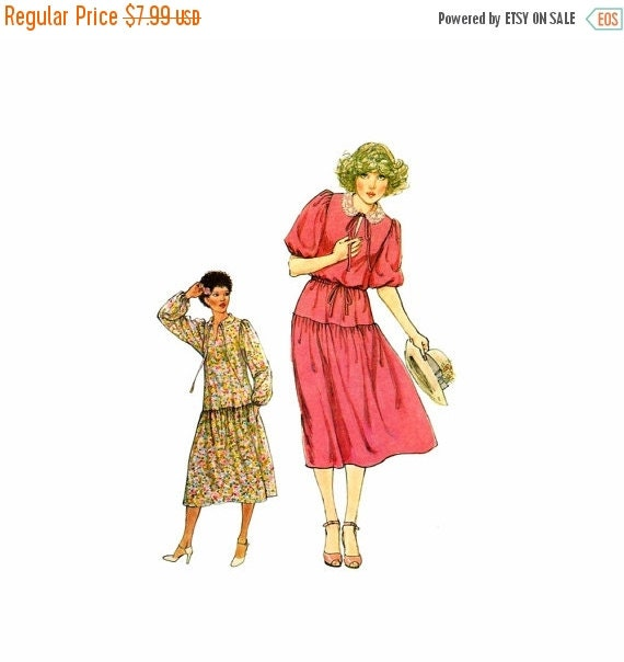 SALE 1970s Misses Pullover Boho Drop Waist Dress Simplicity 8673 Vintage Sewing Pattern Size 8 Bust 31 1/2 UNCUT