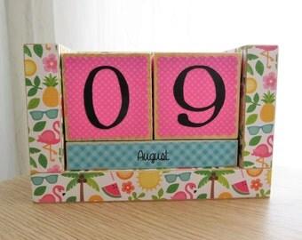 Perpetual Wooden Block Calendar - Summer Fun - Flip Flops Flamingos Palm Trees and Flowers