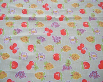 Cotton fabric vintage Greenwood Mills with tag, Winners Circle fabric sample cherries, grapes, apple