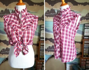 Vintage Pinup Plaid Blouse with Ruffle Details M