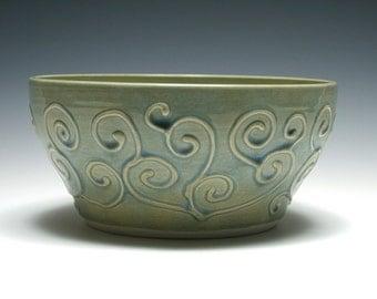 Ocean Blue Ceramic Bowl with Raised Swirls