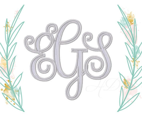 "8"" inch Large Vine Interlocking Embroidery Font Scroll ..."