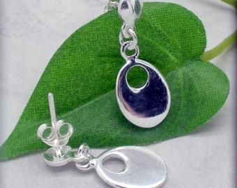 Silver Oval Earrings, Stud Earrings, Post Earrings, Sterling Silver, Everyday Jewelry, Minimalist, Drop, Classic (SE664)