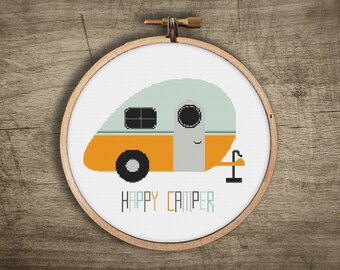 modern cross stitch pattern ++ vintage retro fun summer craft ++ pdf INsTAnT DOwNLoAD ++ diy ++ hipster camping trailer ++ handmade design