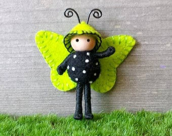 Tiny Butterfly doll Lime Green and Black