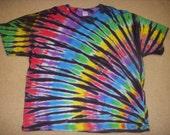 3X tie dye t-shirt, rainbow fan and black, 3XL