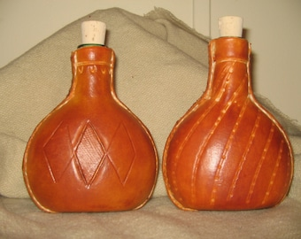 Leather covered bottle flask