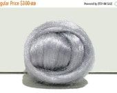 Valentine Sale Silver Firestar Roving, Needle Felting Spinning Fiber, silver roving, light grey, similar to Icicle Top, free ship w/ wool, t